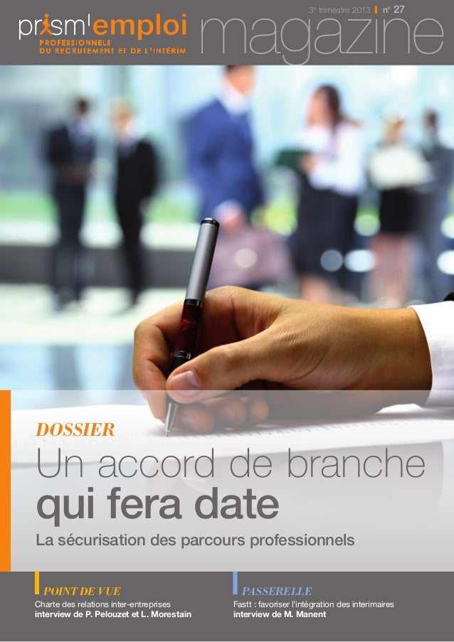 mag3ae trimestrez 2013inn° 27e  dossier  Un accord de branche  qui fera date  La sécurisation des parcours professionnels ...