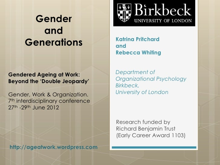 Gender         and                                   Katrina Pritchard      Generations                  and              ...
