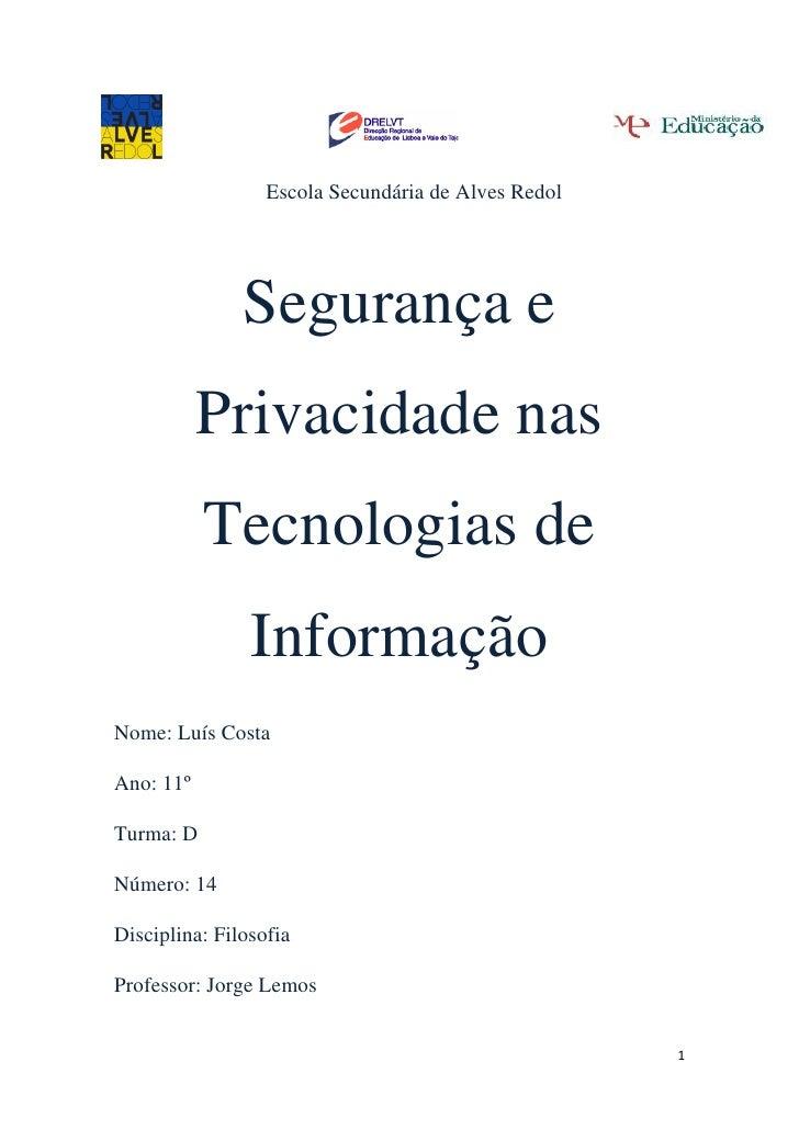 Segurança e Privacidade nas Tecnologias de Informação