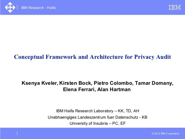 IBM Research - HaifaConceptual Framework and Architecture for Privacy Audit  Ksenya Kveler, Kirsten Bock, Pietro Colombo, ...