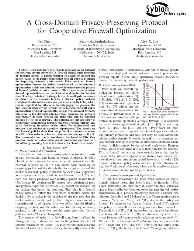 A Cross-Domain Privacy-Preserving Protocol for Cooperative Firewall Optimization Fei Chen Department of CSE Michigan State...