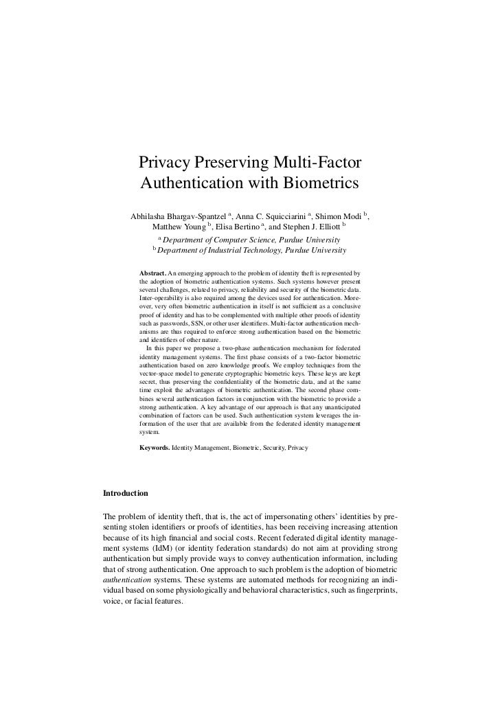 (2007) Privacy Preserving Multi-Factor Authentication with Biometrics