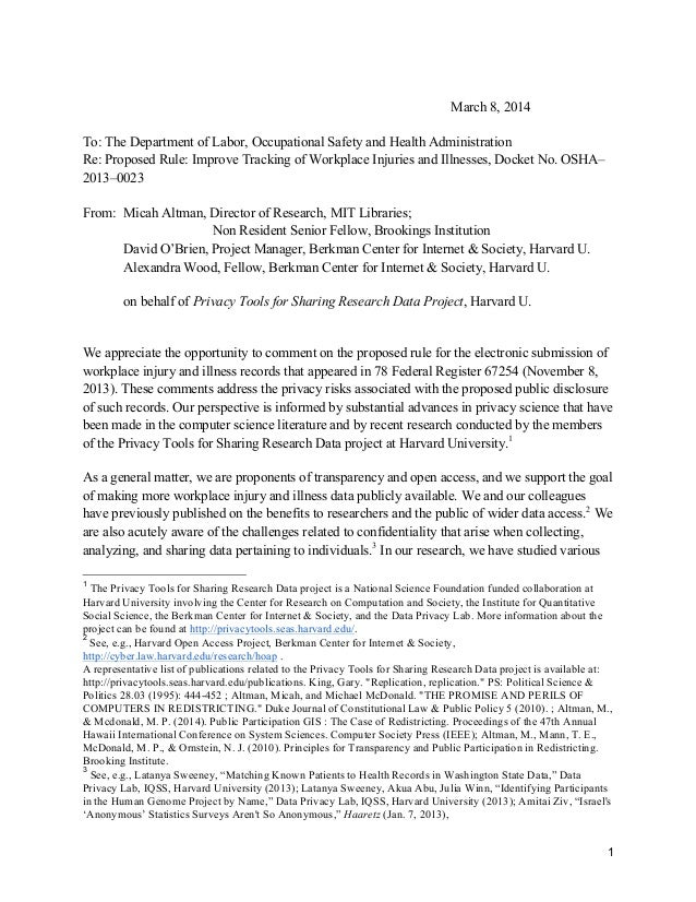 March 8, 2014 To: The Department of Labor, Occupational Safety and Health Administration Re: Proposed Rule: Improve Tracki...
