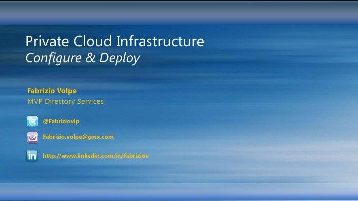 Private Cloud InfrastructureConfigure & DeployFabrizio VolpeMVP Directory Services    @Fabriziovlp    Fabrizio.volpe@gmx.c...