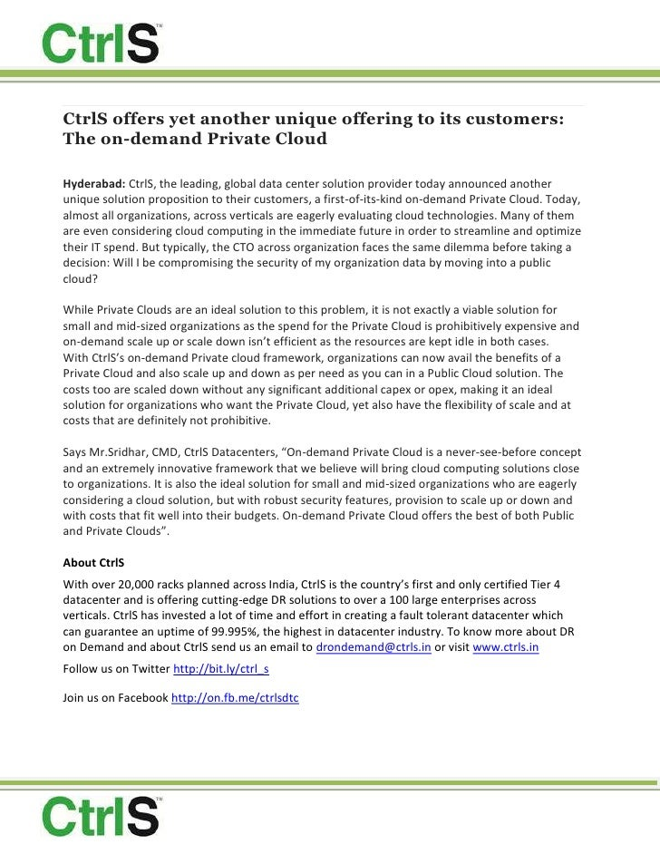 CtrlS offers yet another unique offering to its customers: The on-demand Private Cloud<br />Hyderabad:CtrlS, the leading,...