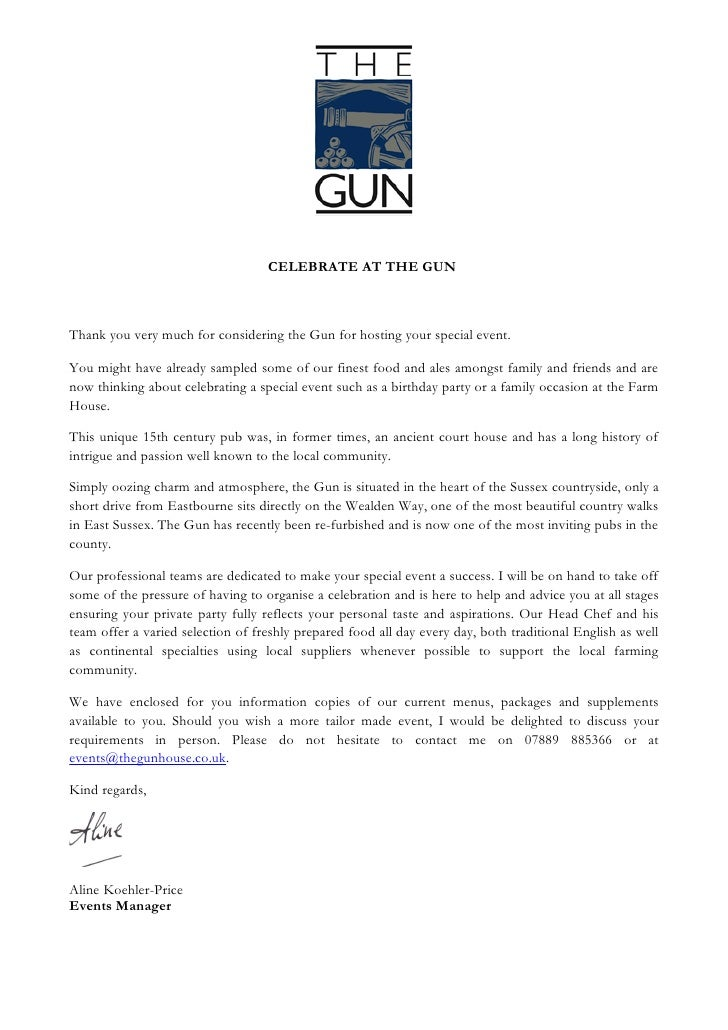 CELEBRATE AT THE GUN    Thank you very much for considering The Gun for hosting your special event.  You might have alread...