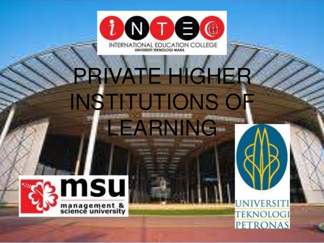 Private higher institutions of learning