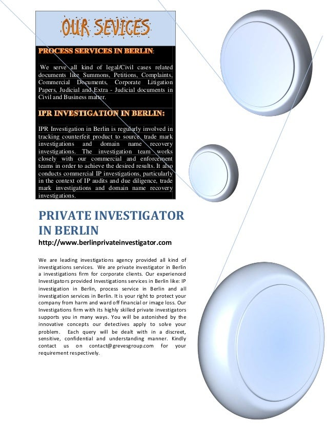 Private investigator in Berlin - IP investigation in Berlin - Process service in Berlin