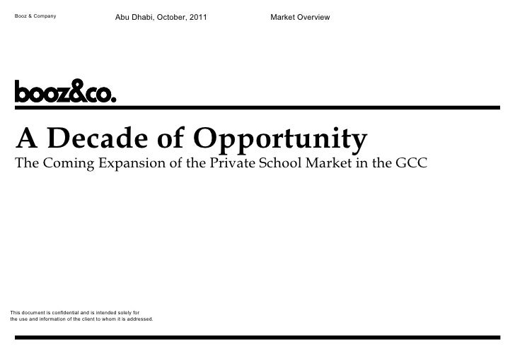 Private Investment Opportunities In Education Booz And Company Bfe Mena 2011