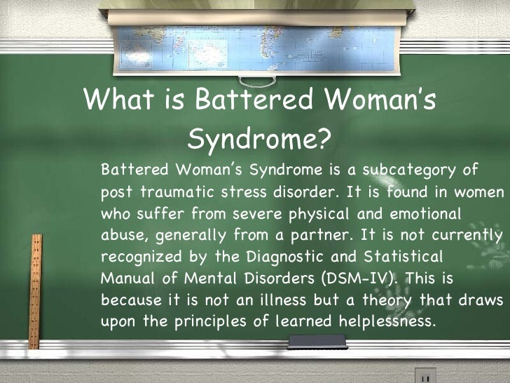 battered womens syndrome not recognized as a distinct mental disorder