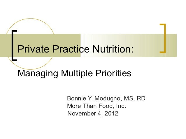 Private Practice Nutrition:Managing Multiple Priorities            Bonnie Y. Modugno, MS, RD            More Than Food, In...