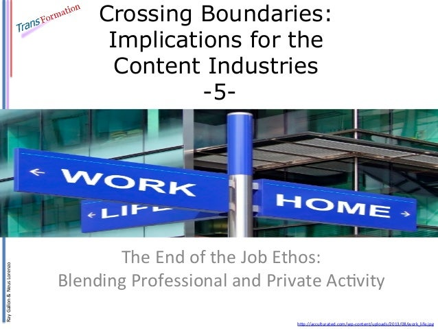 Crossing Boundaries 5: The End of the Job Ethos: Blending Professional and Private Activity