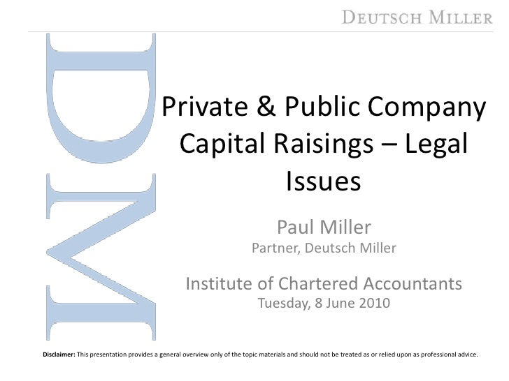 Private & public capital raisings   pjm presentation