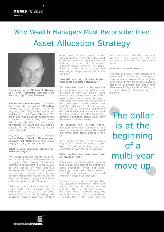 Why Wealth Managers Must Reconsider their Asset Allocation Strategy - Interview: Michael PeQueen, HighTower Advisors - Private Wealth Management Summit 2014