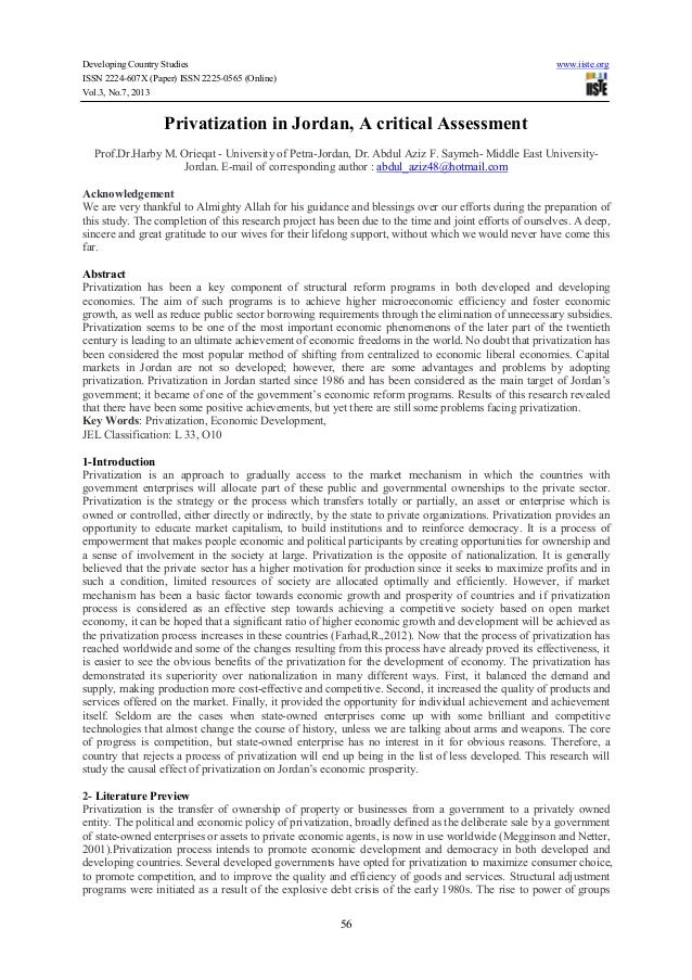 Developing Country Studies www.iiste.org ISSN 2224-607X (Paper) ISSN 2225-0565 (Online) Vol.3, No.7, 2013 56 Privatization...