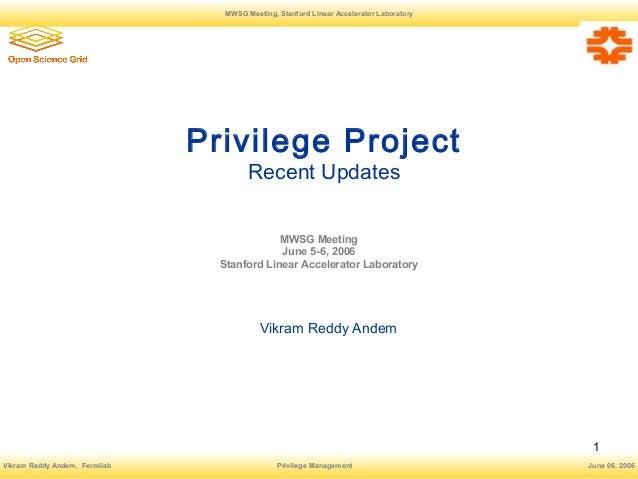 Privilege Project Vikram Andem
