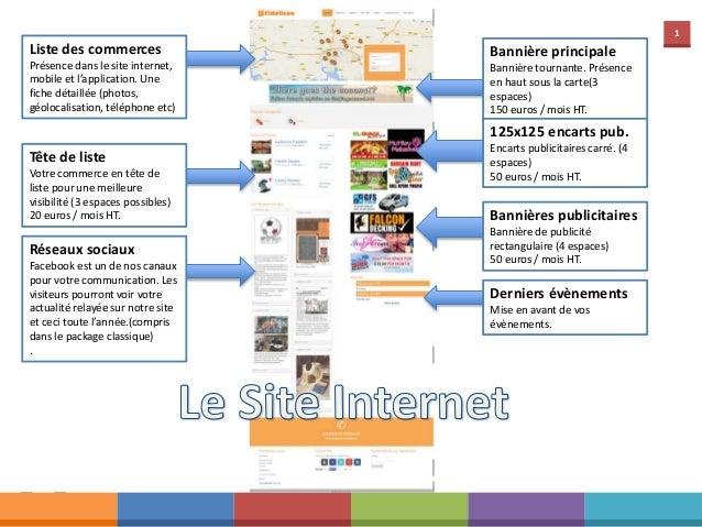 1 Liste des commerces Présence dans le site internet, mobile et l'application. Une fiche détaillée (photos, géolocalisatio...