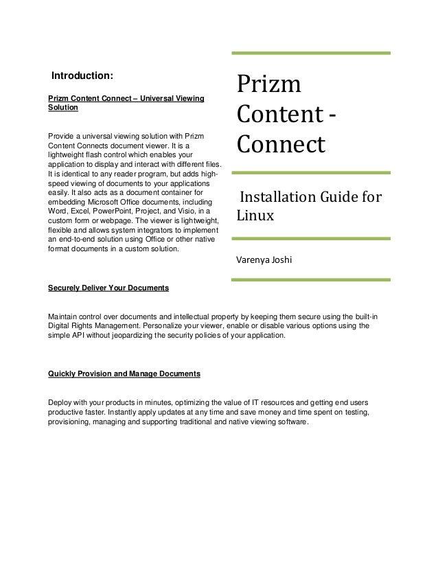 Prizm Introduction:Prizm Content Connect – Universal ViewingSolution                                                      ...