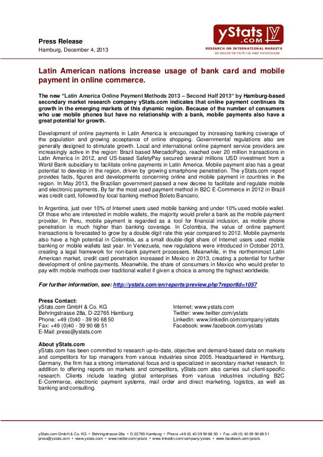 Press Release Hamburg, December 4, 2013  RESEARCH ON INTERNATIONAL MARKETS WE DELIVER THE FACTS YOU MAKE THE DECISIONS  La...