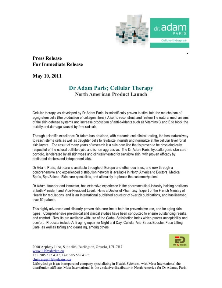.Press ReleaseFor Immediate ReleaseMay 10, 2011                          Dr Adam Paris; Cellular Therapy                  ...