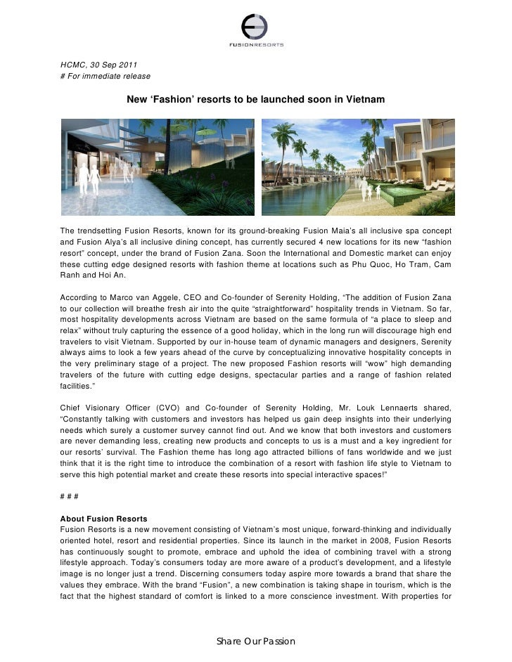 HCMC, 30 Sep 2011# For immediate release                   New 'Fashion' resorts to be launched soon in VietnamThe trendse...