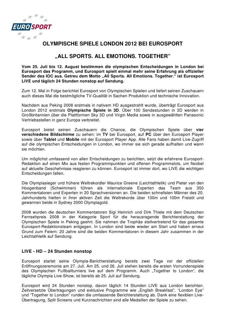 """OLYMPISCHE SPIELE LONDON 2012 BEI EUROSPORT                 """"ALL SPORTS. ALL EMOTIONS. TOGETHER""""Vom 25. Juli bis 12. Augus..."""