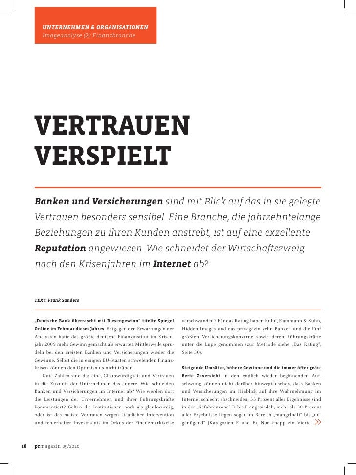 UNTERNEHMEN & ORGANISATIONEN         Imageanalyse (2): Finanzbranche          VERTRAUEN      VERSPIELT      Banken und Ver...