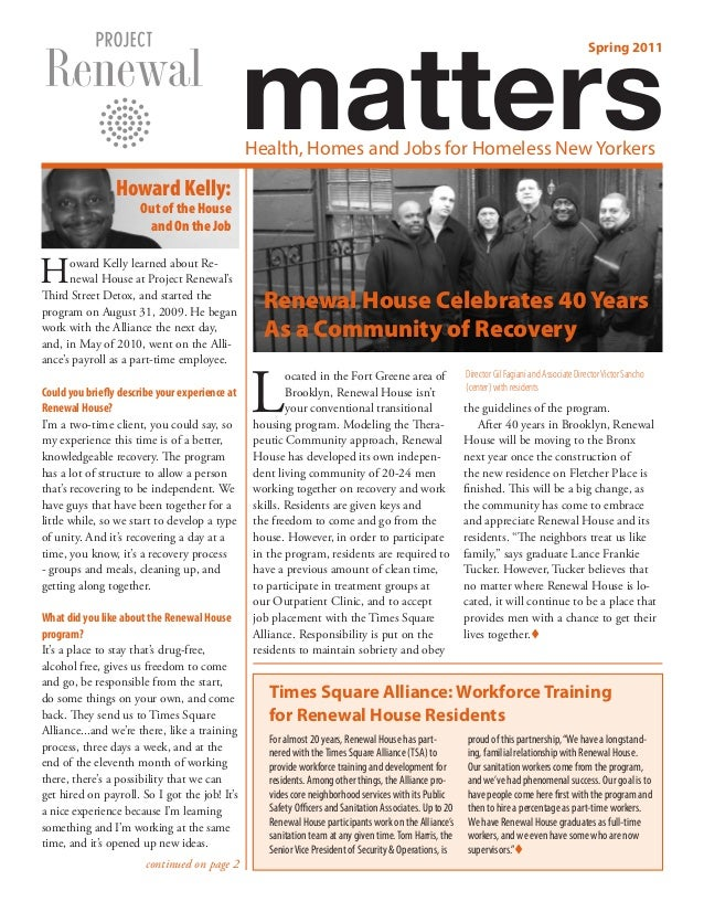 Spring 2011: Project Renewal Matters