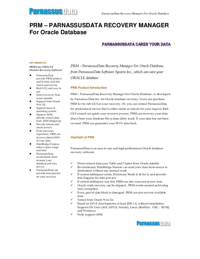 Prm – parnassusdata recovery manager for oracle database data sheet