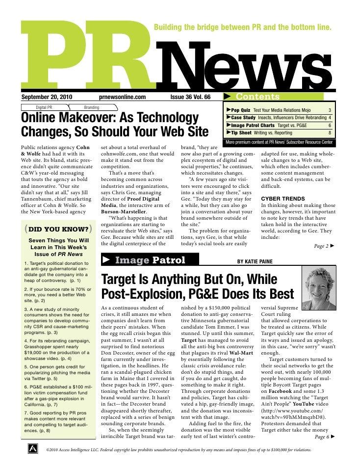 September 20, 2010                         prnewsonline.com                         Issue 36 Vol. 66                      ...
