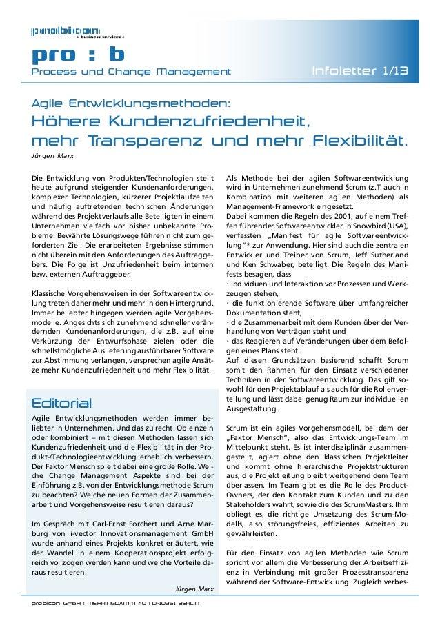 probicon GmbH   MEHRINGDAMM 40   D-10961 BERLIN  pro : b Process und Change Management Infoletter 1/13 Agile Entwicklungs...