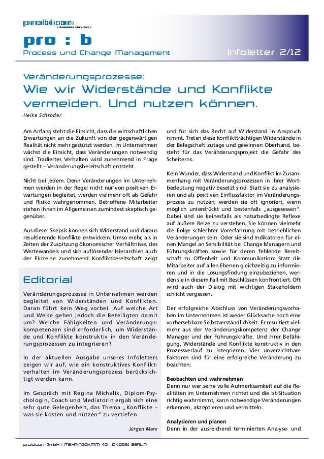 probicon GmbH | MEHRINGDAMM 40 | D-10961 BERLIN  pro : b Process und Change Management Infoletter 2/12 Veränderungsprozes...