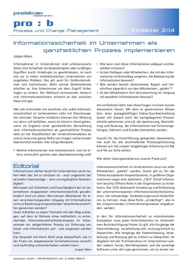 probicon GmbH | MEHRINGDAMM 40 | D-10961 BERLIN  pro : b Process und Change Management Infoletter 2/14 • Wie kann man di...