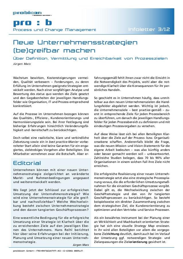 probicon GmbH | MEHRINGDAMM 40 | D-10961 BERLIN  pro : b Process und Change Management Infoletter 3/12 Neue Unternehmenss...