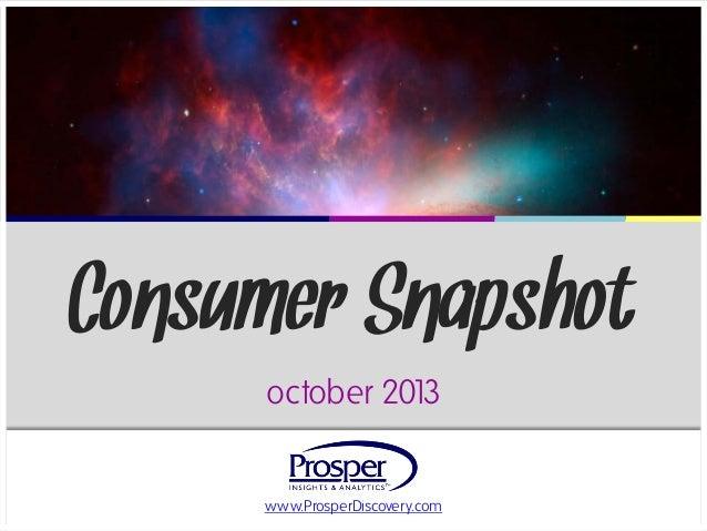 Consumer Snapshot october 201 3 www.ProsperDiscovery.com