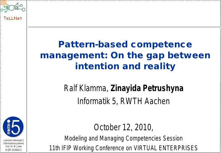 TeLLNet                                Pattern-based competence                          management: On the gap between   ...