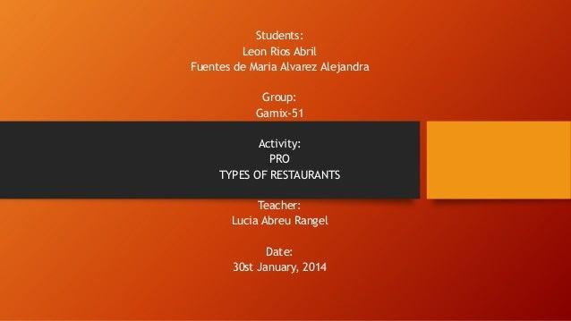 Students: Leon Rios Abril Fuentes de Maria Alvarez Alejandra Group: Gamix-51 Activity: PRO TYPES OF RESTAURANTS Teacher: L...