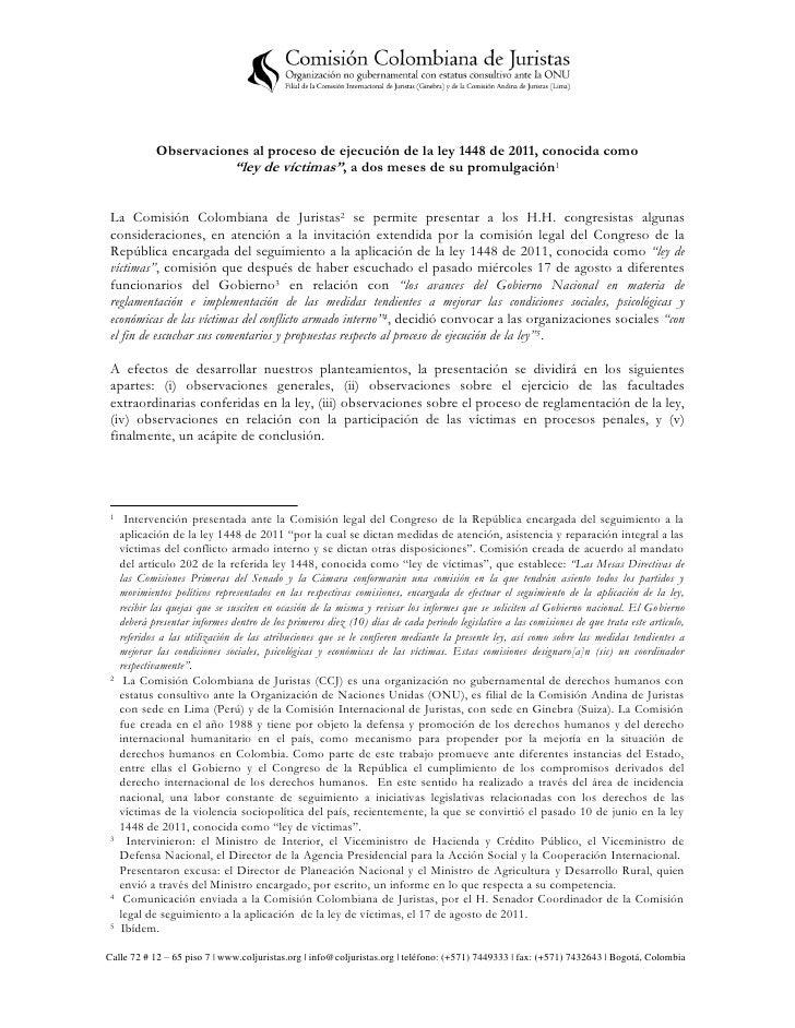 """Observaciones al proceso de ejecución de la ley 1448 de 2011, conocida como                        """"ley de víctimas"""", a do..."""