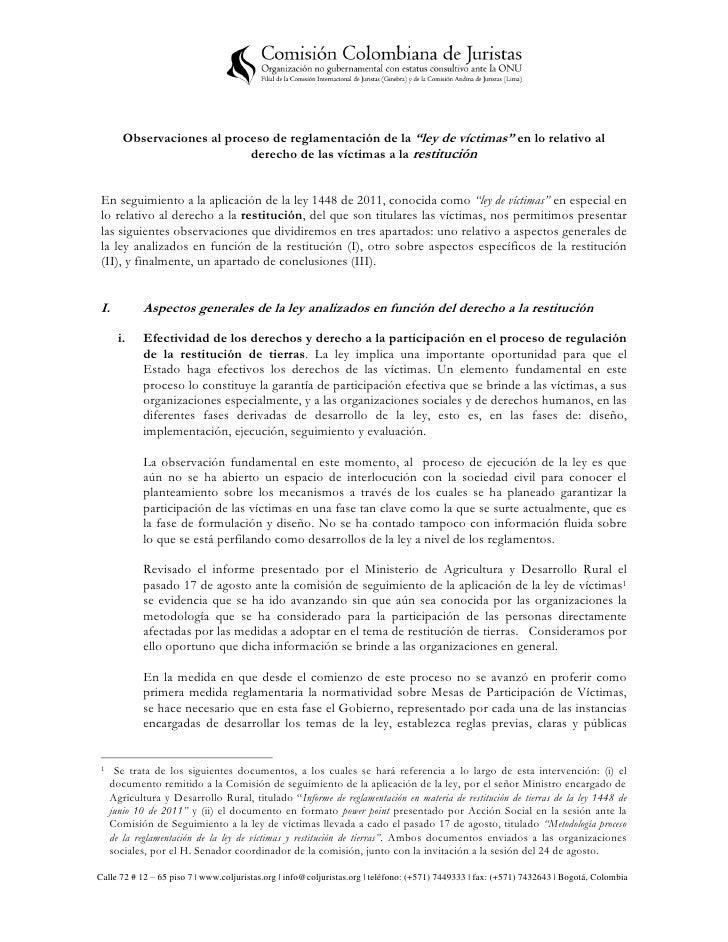 """Observaciones al proceso de reglamentación de la """"ley de víctimas"""" en lo relativo al derecho de las víctimas a la restitución"""
