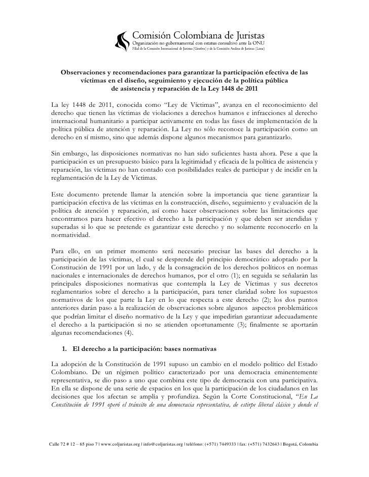 Observaciones y recomendaciones para garantizar la participación efectiva de las          víctimas en el diseño, seguimien...