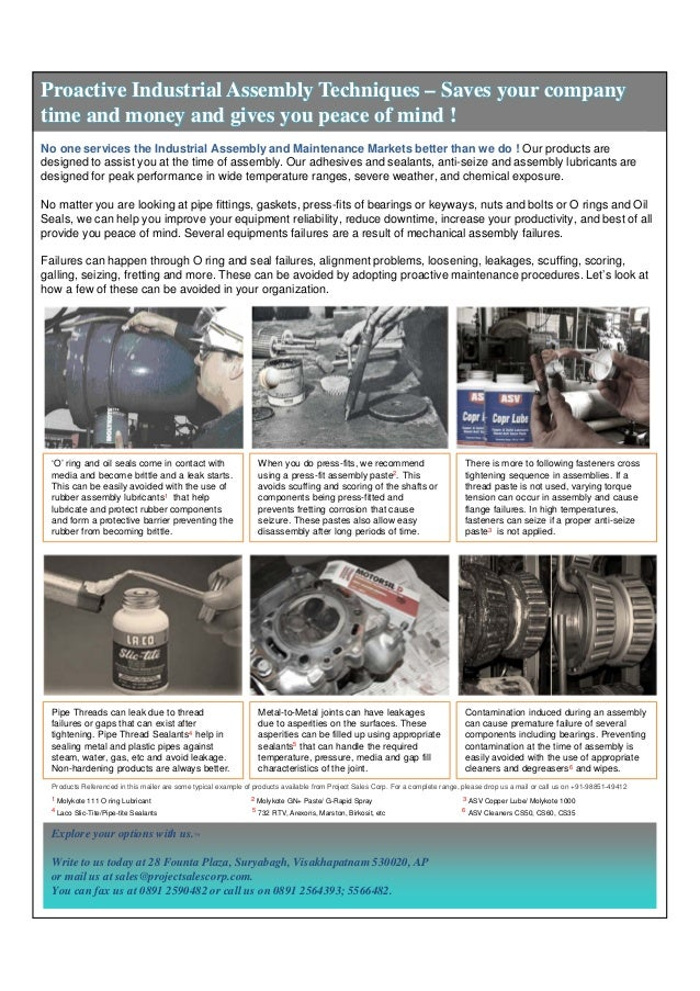 Proactive Industrial Assembly Techniques – Saves your company time and money and gives you peace of mind ! No one services...