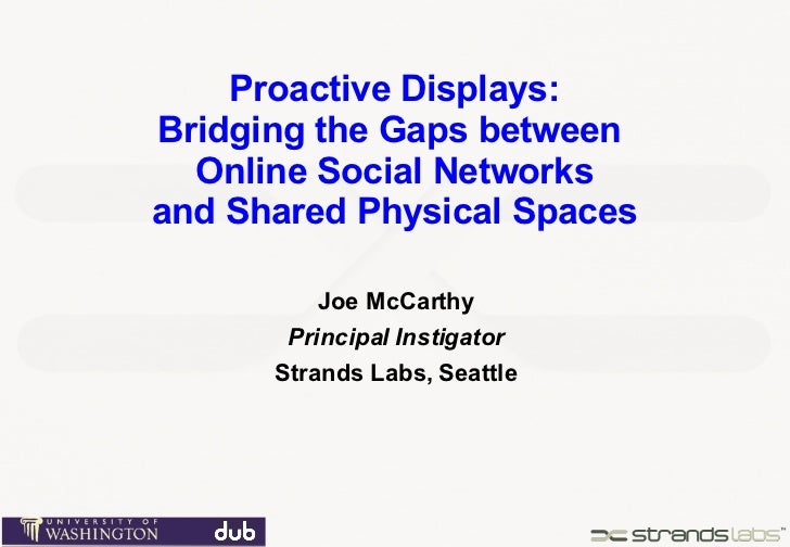 Proactive Displays: Bridging the Gaps between  Online Social Networks and Shared Physical Spaces Joe McCarthy Principal In...