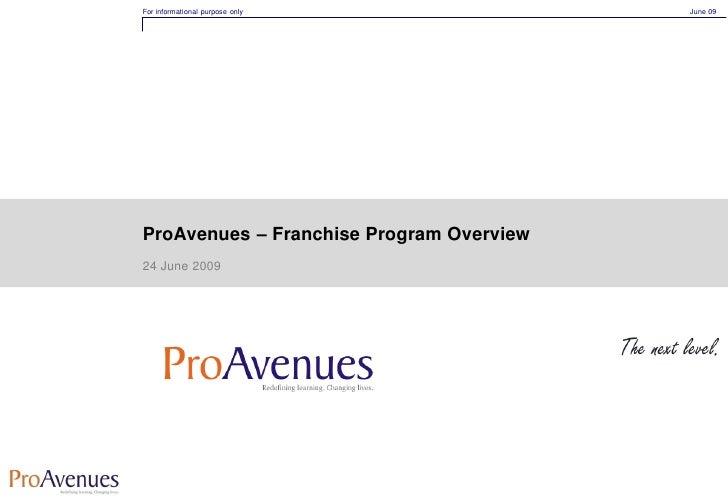 Pro Avenues Franchise Program Jun09