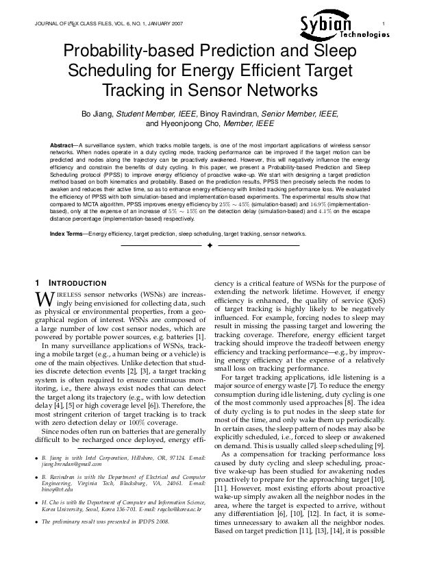 Probability based prediction and sleep scheduling for energy efficient target tracking in sensor networks