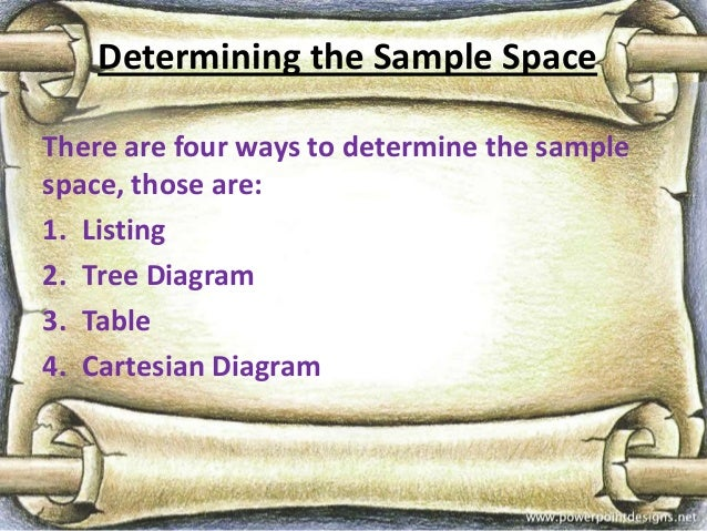 Determining the Sample SpaceThere are four ways to determine the samplespace, those are:1. Listing2. Tree Diagram3. Table4...