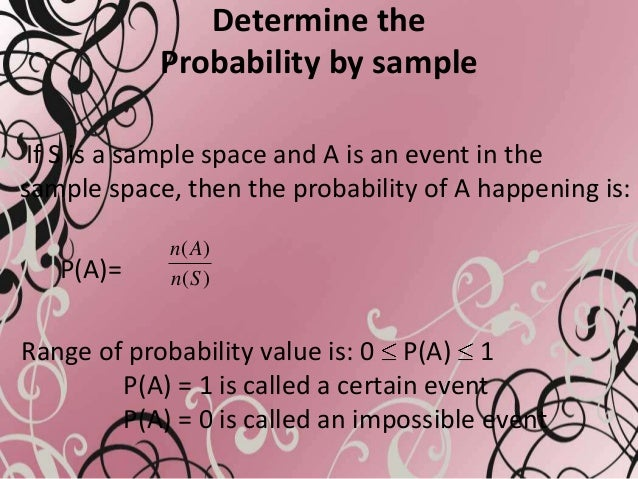 Determine theProbability by sampleIf S is a sample space and A is an event in thesample space, then the probability of A h...