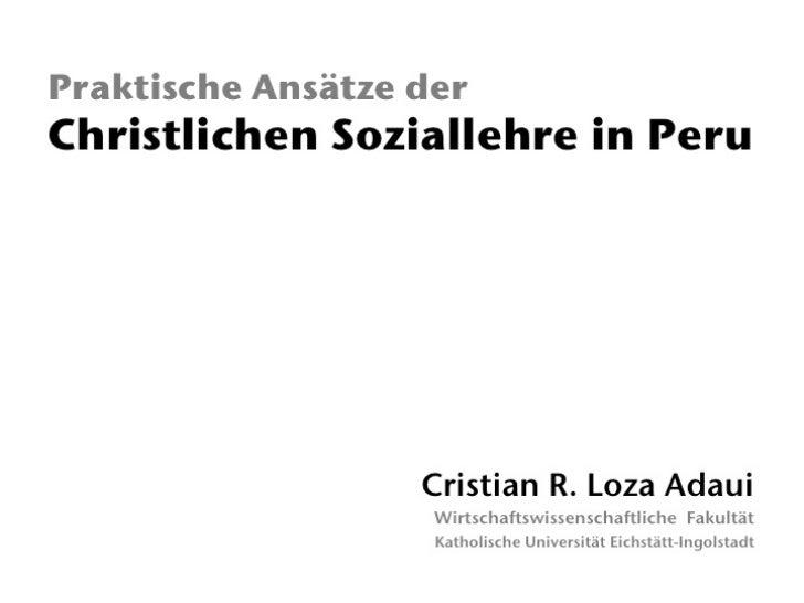 Praktische Ansätze der christlichen Soziallehre in Peru