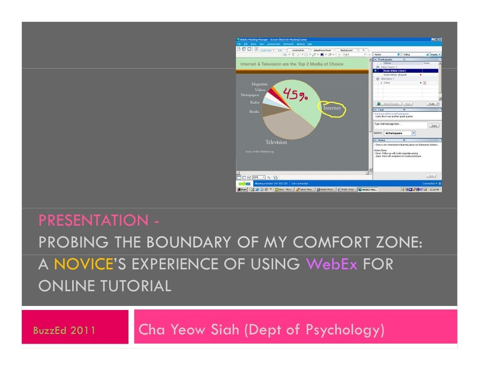PRESENTATION -PROBING THE BOUNDARY OF MY COMFORT ZONE:A NOVICE'S EXPERIENCE OF USING WebEx FORONLINE TUTORIALBuzzEd 2011  ...