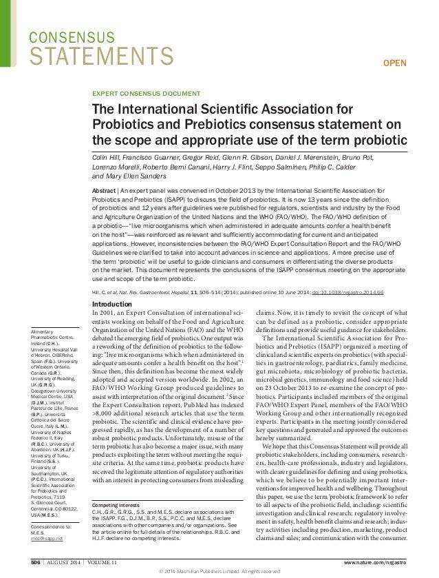 506 | AUGUST 2014 | VOLUME 11 www.nature.com/nrgastro Alimentary Pharmabiotic Centre, Ireland (C.H.). University Hospi...