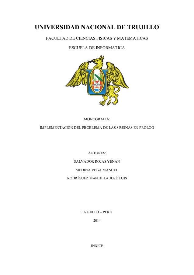 UNIVERSIDAD NACIONAL DE TRUJILLO FACULTAD DE CIENCIAS FISICAS Y MATEMATICAS ESCUELA DE INFORMATICA MONOGRAFIA: IMPLEMENTAC...
